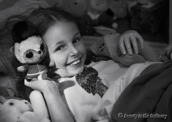 A Girl and Her Stuffed Animals